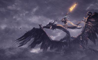 Dark souls III, dragon, rain, game