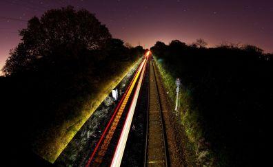 Light trails of train