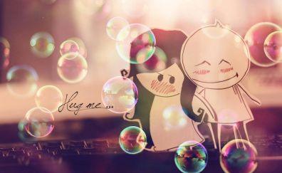Love, hug, paper couple, bubbles