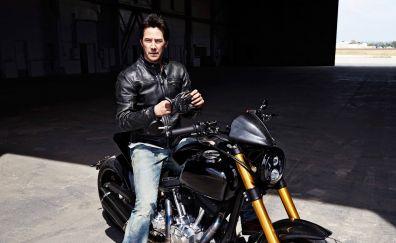 Keanu Reeves, riding, bike