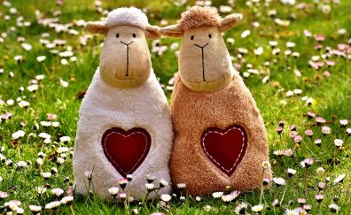Sheep, love, heart, meadow, toys