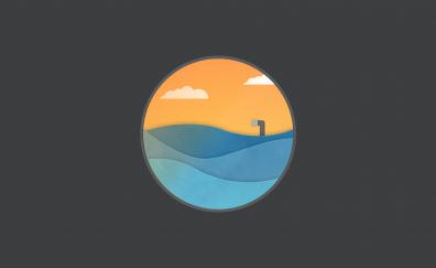 Pacific ocean minimal artwork