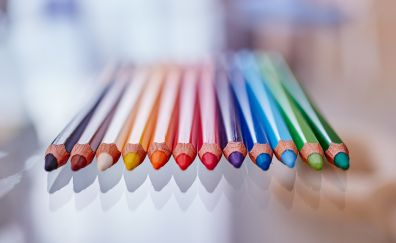 Colorful, sharpen pencils, reflections
