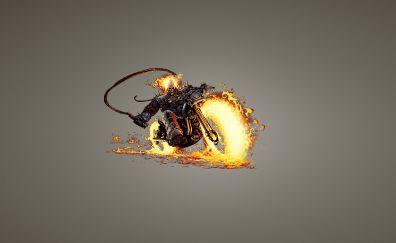 Ghost Rider, superhero, marvel comics, bike, minimal, fan art