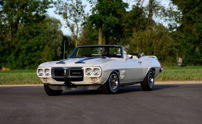 White Pontiac Trans Am, muscle car