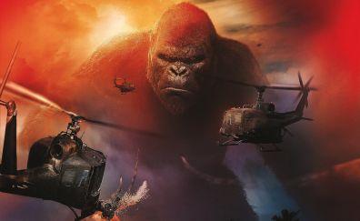 Kong Skull: Island, 2017 movie, monkey, helicopter, gorilla