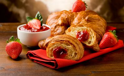 French croissants, fruits, strawberry, jam,