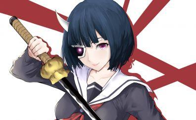 Sword, katana, Onigawara Rin, Busou Shoujo Machiavellianism, anime girl