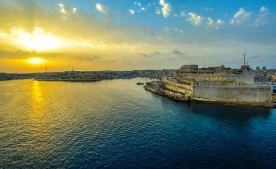Malta, sunrise, valletta harbor