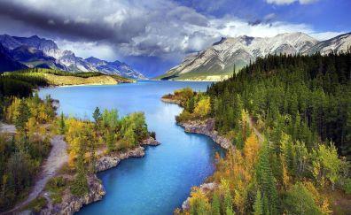 Abraham lake beautiful landscape