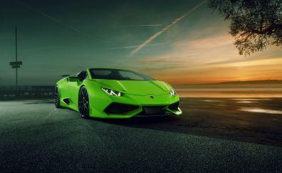 Green sports car, Lamborghini Huracan