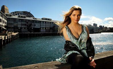 Indiana Evans at dock, blonde celebrity