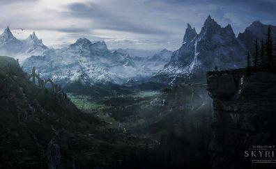 The Elder Scrolls V: Skyrim video game, valley, mountains