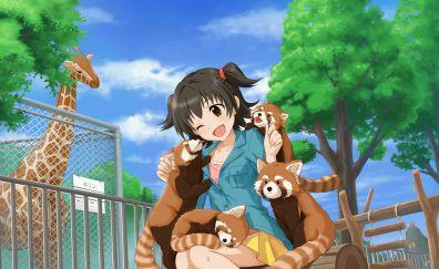 Miria Akagi, zoo, anime girl, red panda, fun