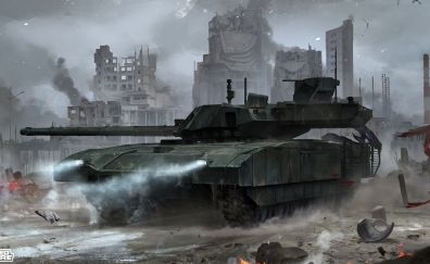 Armored warfare, online game, video game, tank, ruined city