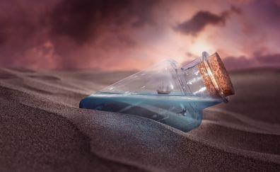 Bottle, ship, sand, fantasy