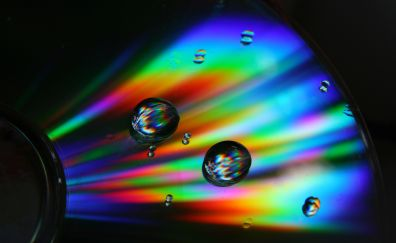 Disc, drops, colorful, reflections