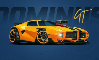 Rocket League, Video Game, GT car, yellow car, art