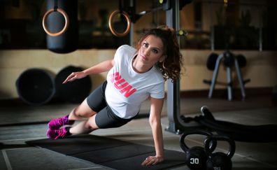 Girl, model, fitness, gym