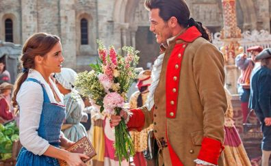 Emma Watson and Luke Evans as belle and Gaston