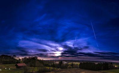 Blue sky, landscape, nature, evening