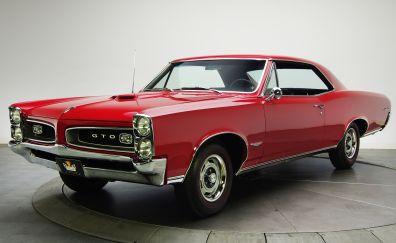 Pontiac GTO, red, classic car