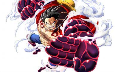 Monkey D. Luffy, one piece, anime boy, punch