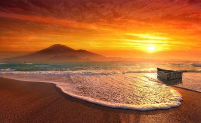Beautiful sunset, beach, mountains