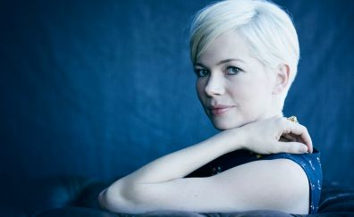 Michelle Williams, face, short hair, smile