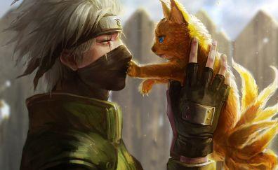 Naruto Sasuke Uchiha anime with yellow kitten
