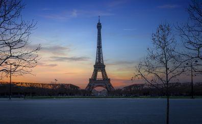 Eiffel tower, architecture, Paris, city, sunset