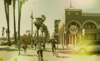 Retro Venice beach, city roads