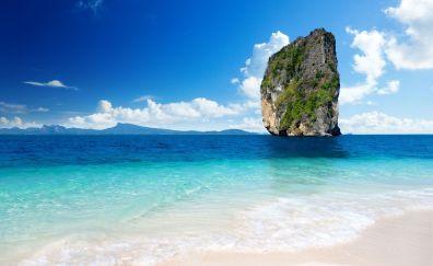 Tropical sea, beach, cliff, blue sky, nature