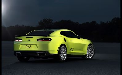 Chevrolet Camaro, green car, rear view, night