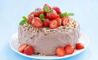 Strawberry cake, baking, cake, food