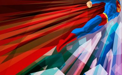 Low poly Abstract artwork of superman