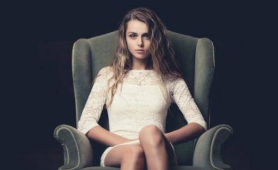 Anastasiya Jepsen, blonde, sitting, sofa