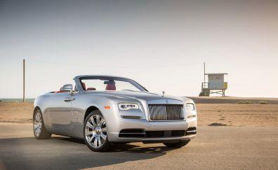 Silver Rolls-Royce Dawn, car, side view