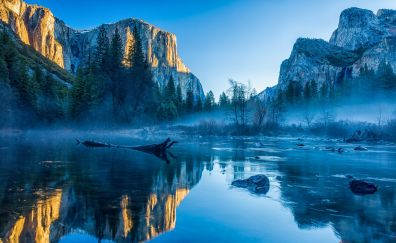 Yosemite National Park, El Capitan, winter, forest, nature, 4k
