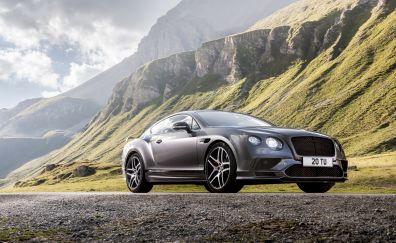 Silver Luxury car, Bentley Continental GT