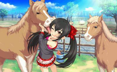 Risa Matoba, anime girl, horses
