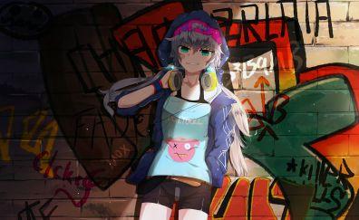 Yuzuki Yukari, Vocaloid, headphone, happy