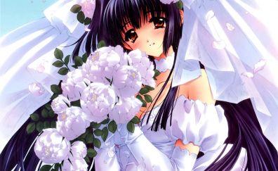 Suzuna Kuraki, Kao no nai Tsuki, wedding dress, flowers, anime girl