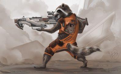 Rocket raccoon, artwork, 4k