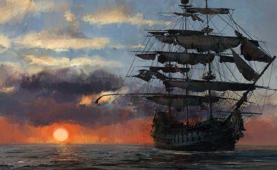 Skull and Bones, ship, sunset, artwork, video game