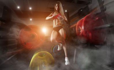 Fitness, sports, girl model