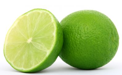 Green lemon, slice, fruits