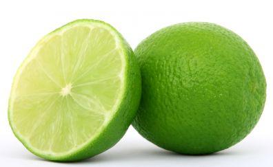 Green lemon, slice, fruits