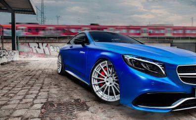 Blue car, luxury sedan, Mercedes-Benz S63 AMG