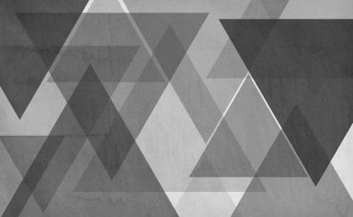 Gray and white, triangles, pattern, minimalism